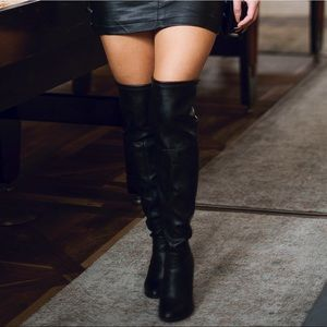Shoes - Black Leather Over the Knee Boots